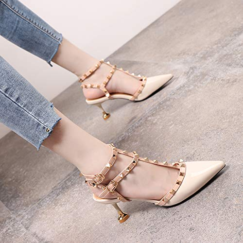 Yukun zapatos de tacón alto Studded Pointed High Heels Female Word Buckle Hollow Patent Leather Stiletto Cat with Single Shoes Beige