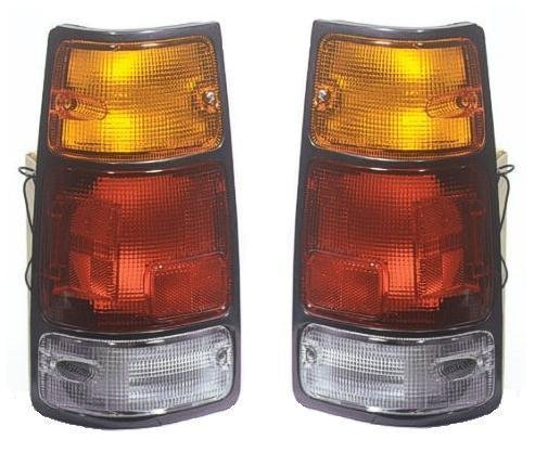 (1988 - 1995 Isuzu Pickup Taillight Taillamp (with Black Trim) Pair Set Both Driver and Passenger NEW 89-94 Amigo 91-97 Rodeo 94-97 Passport 8-97121-073-0 8-97121-072-0 IZ2800103 IZ2801103)