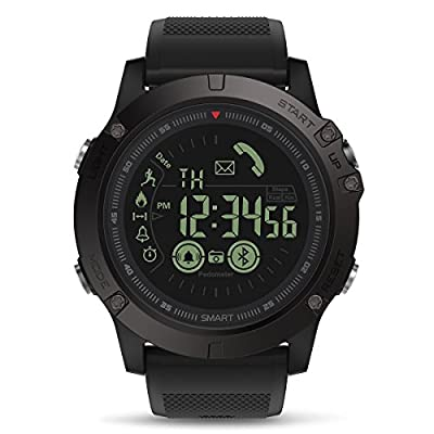 Mens Smart Watch, GOKOO Digital Outdoor Sports Smartwatch for Men with Pedometer, Calorie Counter, Distance, Stopwatch, Clock Alarm, Notifications for Android and iOS Phones - Black