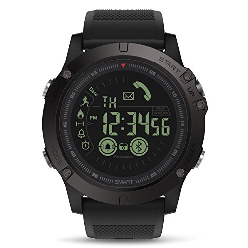 Sports Smart Watch, GOKOO S10 Digital Outdoor Sports Smartwatch for Men with Pedometer, Calorie Counter, Distance, Stopwatch, Clock Alarm, Notifications for Android and iOS Phones - Black