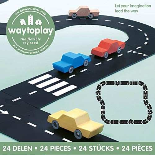 - waytoplay 8717953201645 starterset Highway, 24 Pieces, Black with White Striping