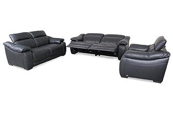 Sofa Couch Editions Leder Garnitur 3 2 1 U076 Mit Relax Schwarz