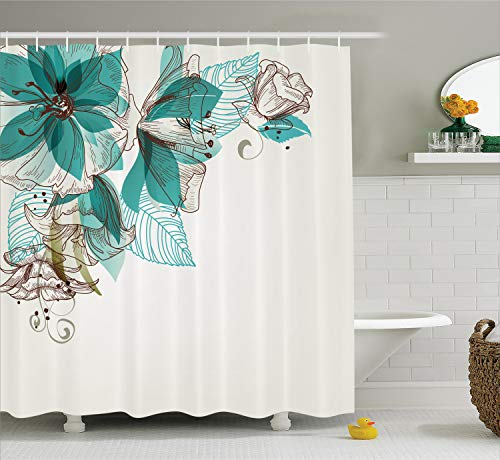 Ambesonne Turquoise Shower Curtain, Flowers Buds Leaf at The top Left Corner Season Celebrating Theme, Cloth Fabric Bathroom Decor Set with Hooks, 70
