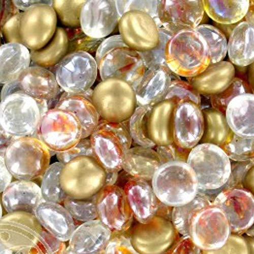 Akasha Glass Gems for Vase Accents and Crafting, Mix of Gold, Clear, and Copper Swirl/Cat's Eye, Bundle Set of 2 Bags, 12 oz apiece, Total of 24 oz (Beads For Vases Gold Glass)