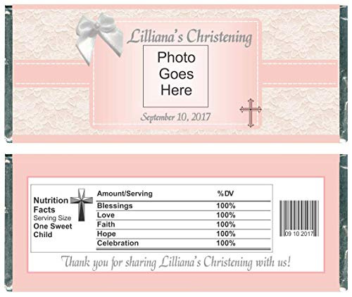 - Photo Christening Personalized Wrappers for Chocolate Bars, Party Favors (Set of 12)(W724/733)