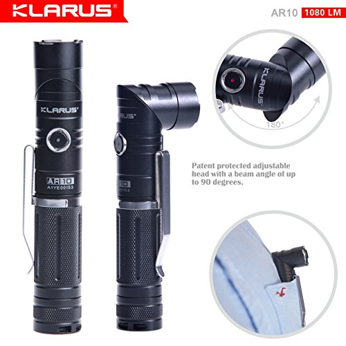 Flashlight, Newest Design KLARUS AR10 USB Rechargeable Flashlight, CREE XM-L2 U2 LED 1080 Lumen, 18650 Battery, Magnetic Adjustable-head Portable Compact Tactical LED Flashlight, IPX-8 Waterproof