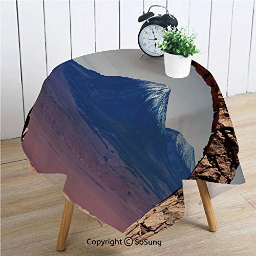 Volcano Square Polyester Tablecloth,South American Desert Landscape with Mountains Seen from Stone Arch Decorative,Dining Room Kitchen Square Table Cover,42W X 42L inches,Light Pink Navy Blue Brown ()