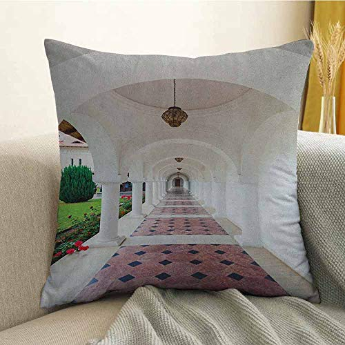 - Travel Bedding Soft Pillowcase Dome Arched Colonnade Hallway at Sambata De Sus Monastery in Transylvania Romania Hypoallergenic Pillowcase W16 x L24 Inch White Green
