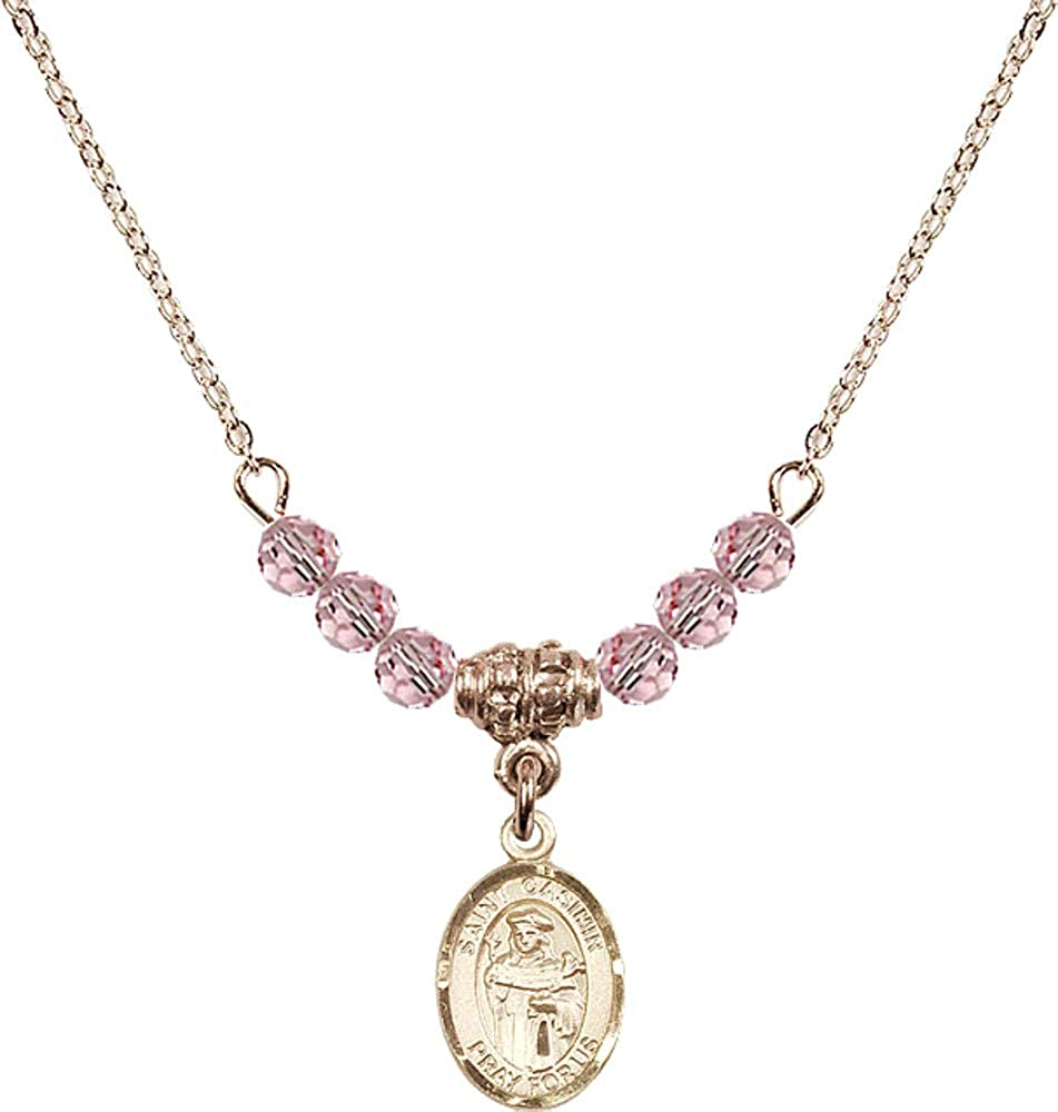 Bonyak Jewelry 18 Inch Hamilton Gold Plated Necklace w// 4mm Light Rose Pink October Birth Month Stone Beads /& Saint Casimir of Poland