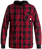 DC Men's Backwoods Insulated Flannel Shirt Water Proof Snowboard Jacket, Moderate Buffalo Plaid Chili Pepper, XL