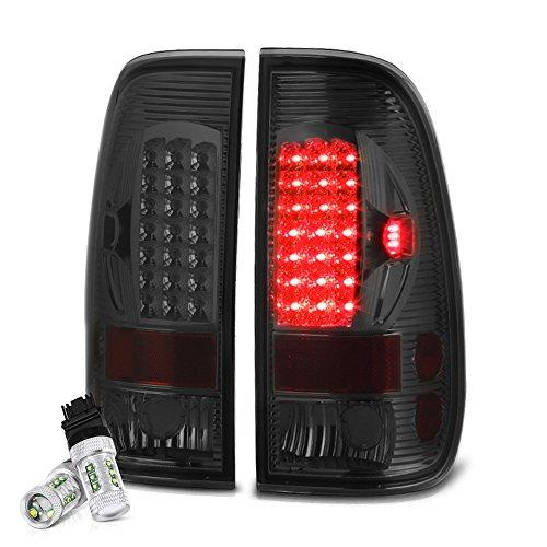 [CREE LED Reverse Bulbs] VIPMOTOZ LED Tail Light Lamp Assembly For 1997-2003 Ford F-150 & 1999-2007 Ford Superduty F-250 F-350 Pickup Truck - Chrome Housing, Smoke Lens, Driver & Passenger Side (F-250 Ford Pickup 1999)