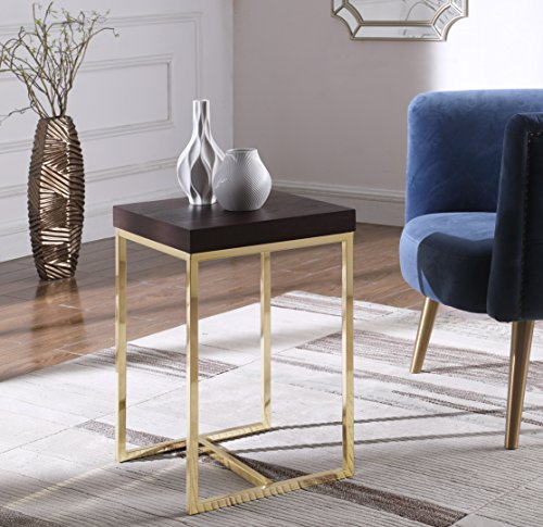 (Iconic Home Colmar Nightstand Side Table with Ash Veneer Top Brass Brushed Stainless Steel Base, Modern Contemporary, Espresso)