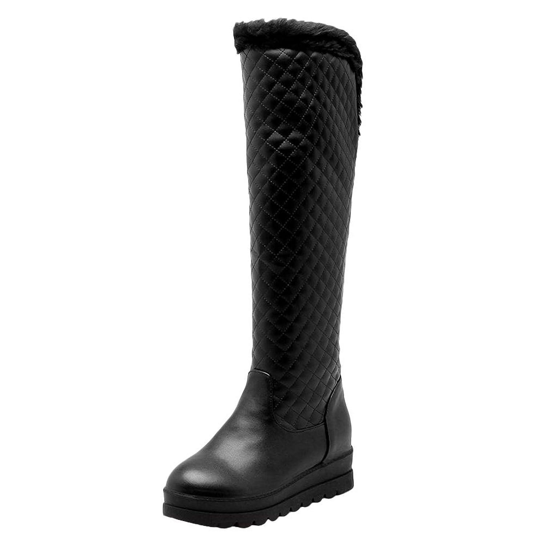 Show Shine Women's Warm Platform Mid Heel Tall Winter Snow Boots