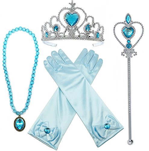 Princess Elsa Dress up Party Accessories 4 Piece Set Gloves, Tiara, Wand and Necklace(Lake Blue) (Frozen Wand)