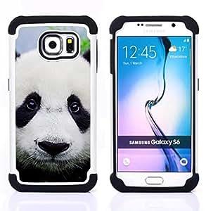 For Samsung Galaxy S6 G9200 - Panda Cute Japanese Eyes Sad Furry Plush /[Hybrid 3 en 1 Impacto resistente a prueba de golpes de protecci????n] de silicona y pl????stico Def/ - Super Marley Shop -
