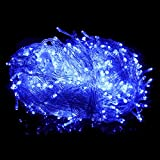 HDE Linkable LED String Lights Holiday Home Fairy Multifunction Wedding College Dorm Room Craft Decoration Expandable Rope Lights (100 Micro LEDs - Blue)