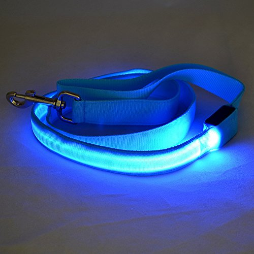 4FT Nylon LED Flashing Visibility Lights Dog Pet Leash-Blue