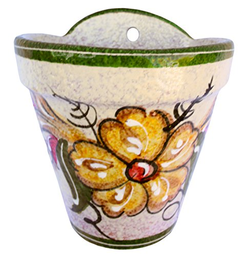 Cactus Canyon Ceramics Wall Flower Pot (Spanish Gold) - Hand Painted in Spain