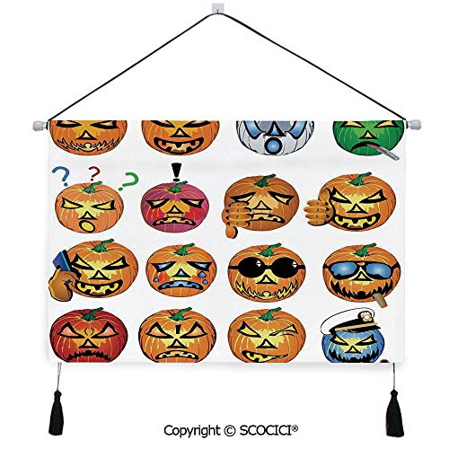 SCOCICI Durable Material Multipurpose W24xL17inch Wall Hanging Tapestry Carved Pumpkin with Emoji Faces Halloween Humor Hipster Monsters Art Decorative Painting Living Room Painting Fabric Background]()
