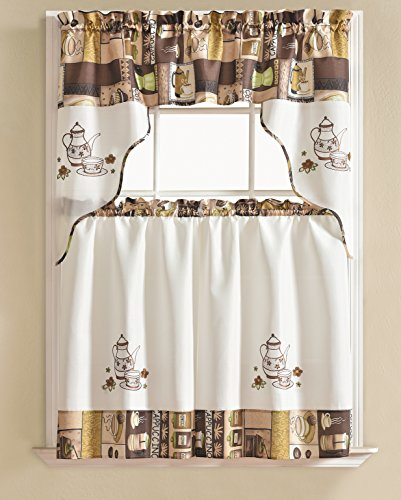 RT Designers Collection Urban Embroidered Tier and Valance Kitchen Curtain Set, Coffee
