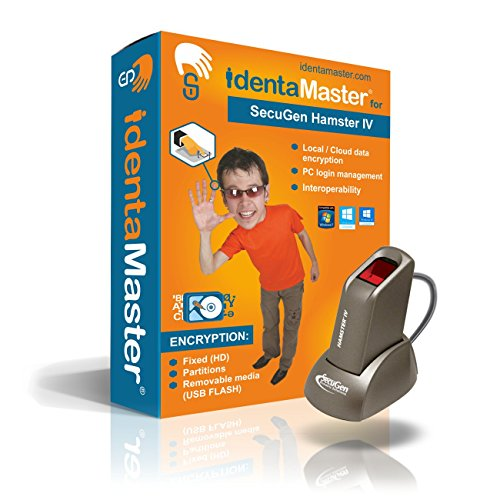 IdentaMaster Biometric Security Bundle with SecuGen Hamster IV - Software Included Encryption, PC Login for Windows 7/8/10 by IdentaZone