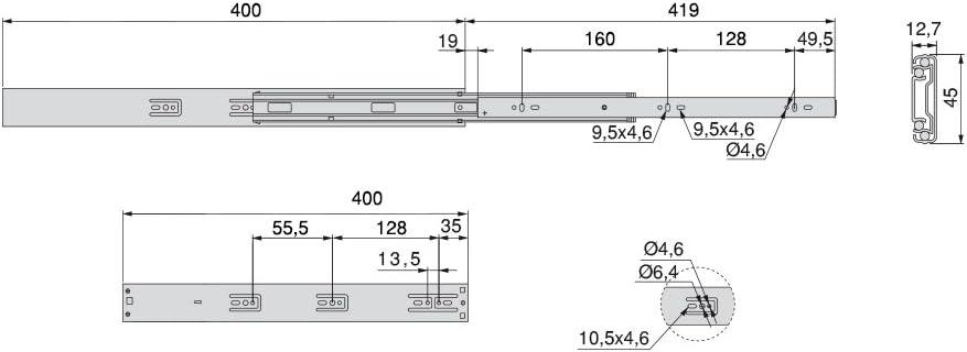 Set aus 1 Paar aus schubladenauszug Vollauszug mit d/ämpfer Schubladenschienen kugellager 45mm x 300mm Emuca