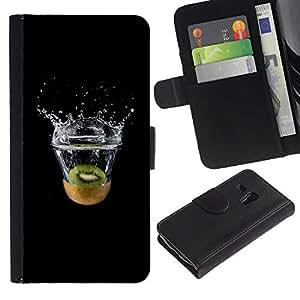 KLONGSHOP // Tirón de la caja Cartera de cuero con ranuras para tarjetas - MINIMALISTA KIWI SPLASH - Samsung Galaxy S3 MINI 8190 //