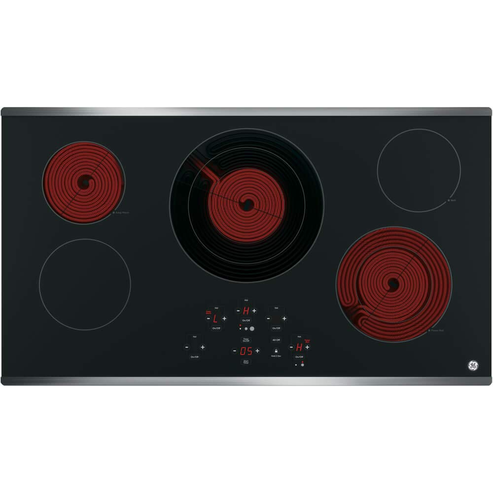 Keep Warm Center Tri-Ring Burner Melt Setting Digital Touch Controls Built-in Kitchen Timer GE JP5036SJSS 36 Inch Smoothtop Electric Cooktop with 5 Radiant Elements ADA Compliant Fits Guarantee