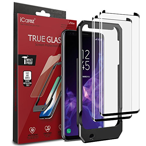 iCarez [Tray Installation Black Glass ] 3D Curved Screen Protector for Samsung Galaxy S9+ S9 Plus (Case Friendly) Highest Quality Easy Install [ 2-Pack 0.33MM 9H]