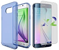 Exian Flexible Cell Phone Case for Samsung Galaxy S6 Edge - Retail Packaging - Blue