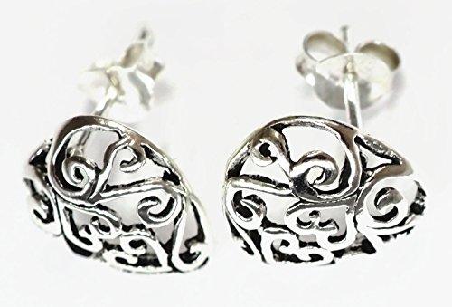 Plated Filigree Wrap (925 Sterling Silver Earring Vintage VTG Ear stud For Women Filigree Heart 7/16