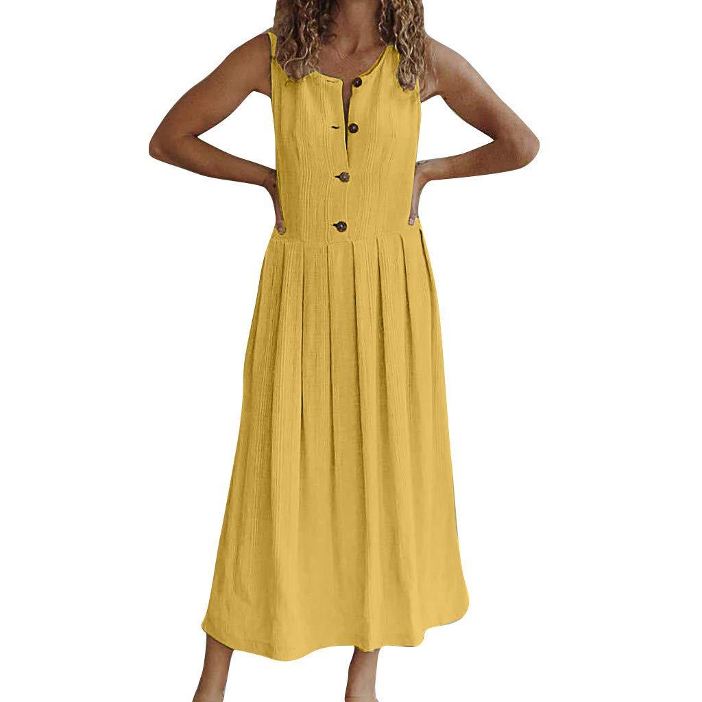 Bravetoshop Women Maxi Dresses,Casual Beach Summer Dresses Solid Cotton A-Line Button Down Midi Sundress (Yellow,XXXL) by Bravetoshop - dress