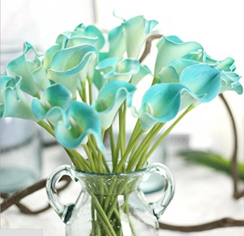 SMYLLS Calla Lily Bridal Wedding Bouquets with Latex Gift Package-Look Like Real,Eco-friendly Odourless Artificial Flowers (12, Diamond Blue)