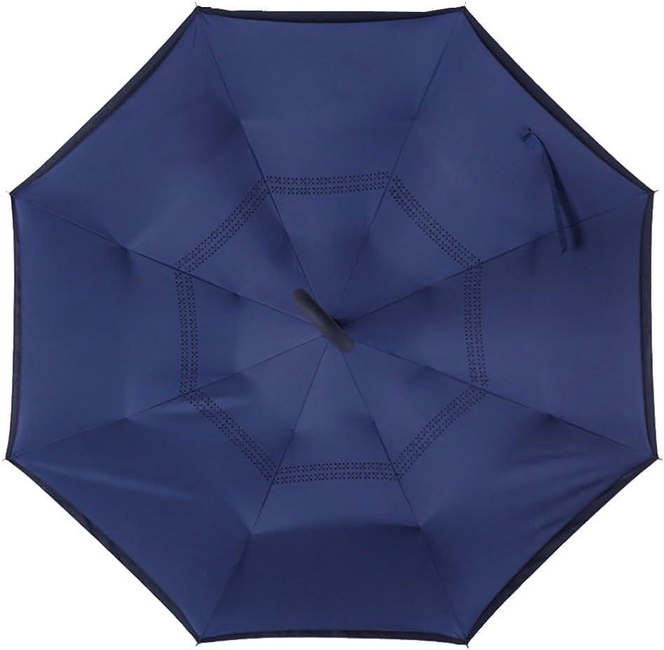Paraguas Plegable de Doble Capa con Mango en C invertido al revés ...