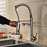 Rozin Brushed Nickel LED Light Pulll Down Spray Kitchen Sink Faucet Swivel Spout One Hole Mixer Tap with 8