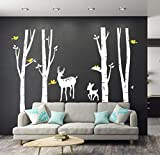 white tree decals - LUCKKYY Large Birch Tree Deer Wall Decal Forest Birch Trees Birch Trees Vinyl Kids Vinyl Sticker Vinyl Wall Decal Family Room Art Decoration (White Birch)