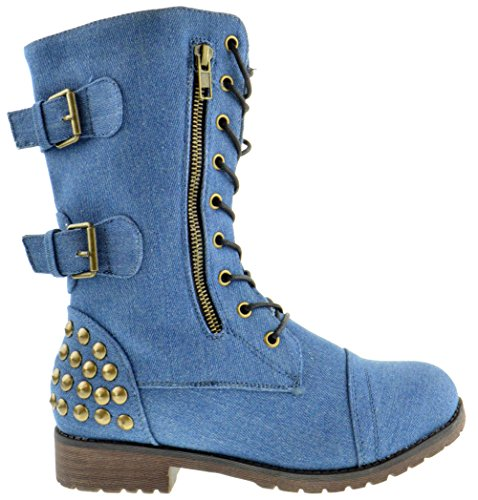 Rider 83 Womens Military Lace up Studded Combat Boot Denim 10