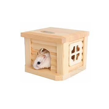 petacc hámster casa de madera pequeño Animal guarida mascota caseta para hamsters, gerbos, erizos y Guinea cerdos, color beige: Amazon.es: Electrónica