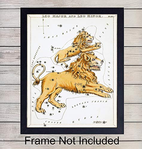 Vintage Leo Astrological Zodiac Chart - Ready to Frame (8x10) Photo - Great Gift and Chic Home Decor