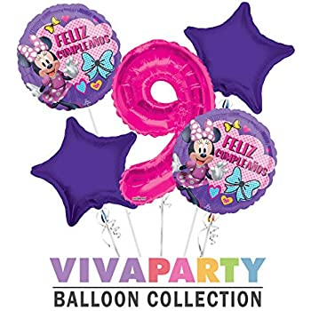 Amazon.com: Minnie Feliz Cumpleanos Balloon Bouquet 5 pc ...