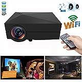 Mini Micro Video Projector ,GM60a 1000 lumens 1920x1080 Pixels 30,000 hours LED light life time Wireless Home Cinema Theater Multimedia Projectors Support HD PC USB HDMI AV VGA