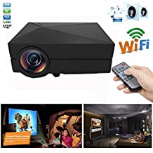 Mini Micro Video Projector ,GM60a 1000 lumens 1920x1080 Pixels 30,000 hours LED light life time Wireless Home Cinema Theater Multimedia Projectors Support HD PC USB HDMI AV VGA