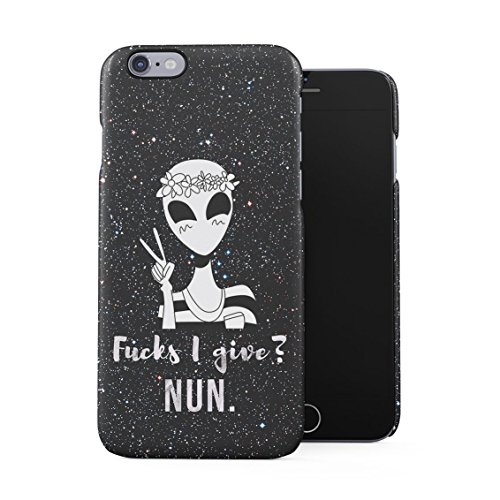 Cute UFO Alien in Stars Cosmos Fucks I Give? Nun Funny Quote Plastic Phone Snap On Back Case Cover Shell for iPhone 6 Plus & iPhone 6s Plus