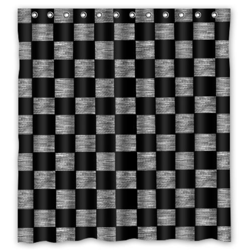 Tic-Tac Curtains Checker Board Pattern Waterproof Polyester Fabric Shower Curtain 66