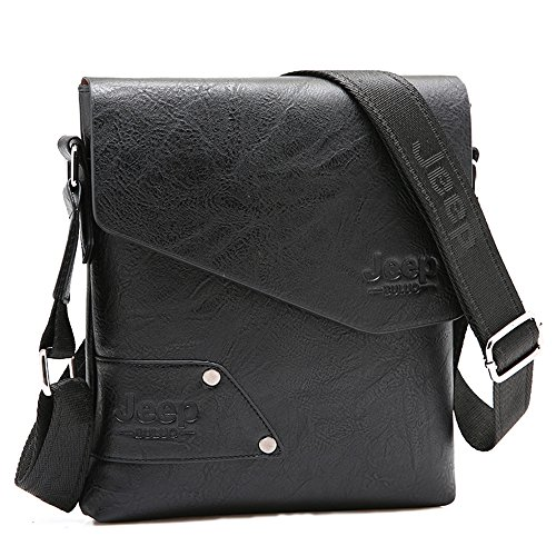 JEEP BULUO Leather Messenger Bag For Men (Black) by JEEP BULUO (Image #2)