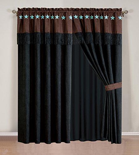 4 Piece WESTERN Lodge   Black / Dark Brown Embroidered Lone