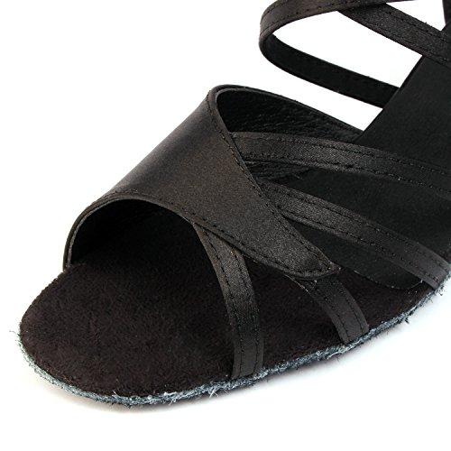 Buge Femmes Peep Toe Sandales Latine Salsa Tango Chaussures De Danse De Salon Avec 1,5 Talon