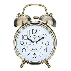 KINGSO 4'' The Vintage Retro Mental Twin Bell Alarm Clock with Nightlight, Battery Power Desk Clock