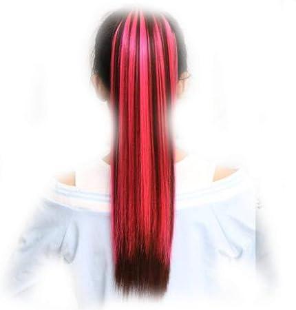 Color rojo vino destacando peluca cola de caballo cordón ...
