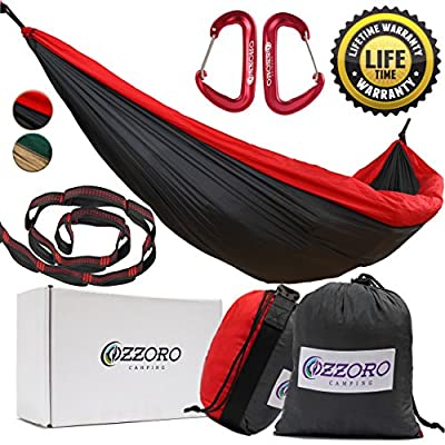 """OZZORO #1 Premium Set Double Parachute Camping Hammock with 9 ft Straps & Carabiners START UP COMPANY """"Move Your Butt, Bear Butt And I'll Help You To Shake The Eagle Out Of The Nest"""""""